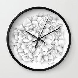 Hydrangea - Graphite Wall Clock