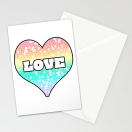 Pastel Love Mosaic FIlled Heart Graphic Design  Stationery Cards