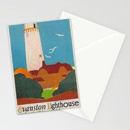 Evanston Lighthouse Vintage Travel Poster Stationery Cards