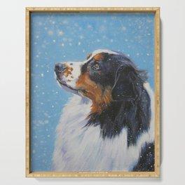 Australian Shepherd dog portrait fine art painting by L.A.Shepard Serving Tray