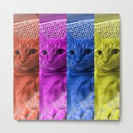 Pop Art Cat // Orange Pink Blue Yellow // photography  Metal Print