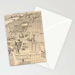 1926 Aerial New York City Map Stationery Cards