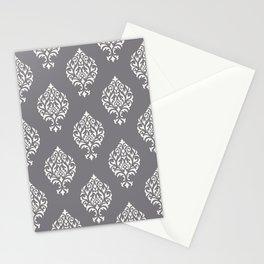Orna Damask Pattern Cream on Grey Stationery Cards