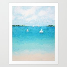 Baby Beach Sailboats Art Print