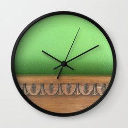 Green Wall, Wood Trim Wall Clock