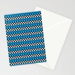 Geometric Pattern No.1 Cyan Blue and Black Stationery Cards