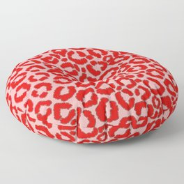Bold Modern Red Pink Leopard Animal Print Floor Pillow