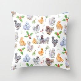 Silkie Chicken Winter Holiday Pattern Throw Pillow