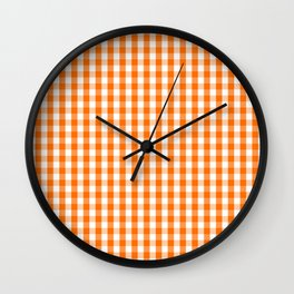 Classic Pumpkin Orange and White Gingham Check Pattern Wall Clock