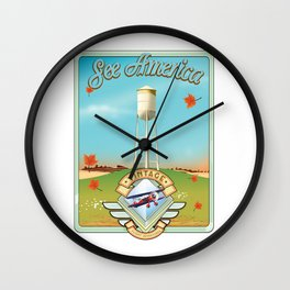 See america vintage travel poster. Wall Clock