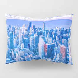 Blue Chicago Skyline Pillow Sham