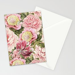 Vintage & Shabby Chic Floral Peony & Lily Flowers Watercolor Pattern Stationery Cards
