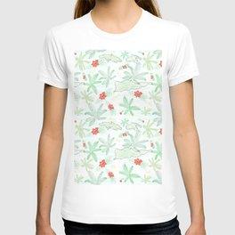 Cute US Virgin Islands Map Outline/palms/flamboyant tree Pattern T-shirt
