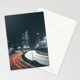 Night city long exposure Stationery Cards
