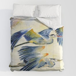 Flying Together - Great Blue Heron Comforters