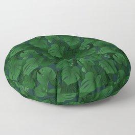 Monstera (Jungle) - Emerald x Teal Floor Pillow