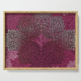 lace weave in red wine Serving Tray