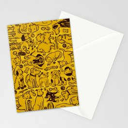 Pup Party in Mustard Gingham Stationery Cards