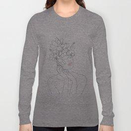 Minimal Line Art Woman with Magnolia Langarmshirt