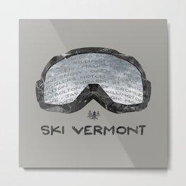Ski Vermont Ski Goggles — Black with VT Mountains Metal Print