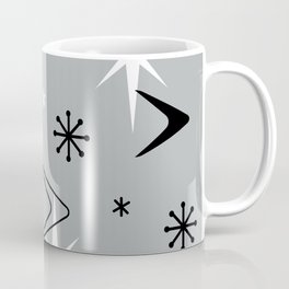 Vintage 1950s Boomerangs and Stars Gray Coffee Mug