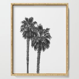 Dos Palmeras // Tropical Black and White Palm Tree Photography California Nature Ocean Vibes Serving Tray
