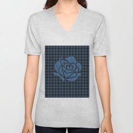 Blue patchwork , rose Unisex V-Neck