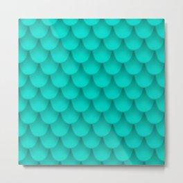 Blue fish scales Metal Print