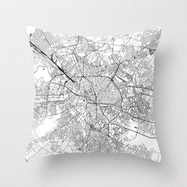 Bucharest White Map Throw Pillow