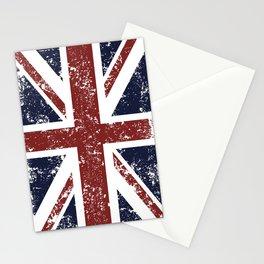 Old scratched United Kingdom flag Stationery Cards