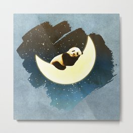 Sleeping Panda on the Moon Metal Print