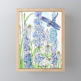Watercolor Wildflower Garden Dragonfly Blue Flowers Daisies Framed Mini Art Print