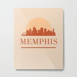 MEMPHIS TENNESSEE CITY SKYLINE EARTH TONES Metal Print