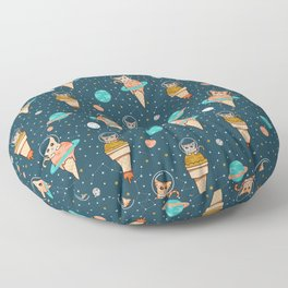 Cats Floating on Ice Cream in Space Floor Pillow