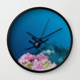 Flying coral reef Wall Clock