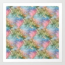 Satin Rainbow Pastel Floral Art Print