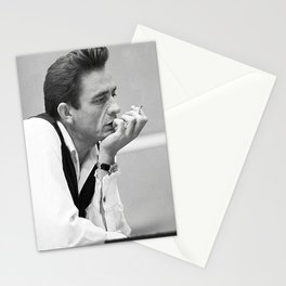 Johnny Cash Smoking, Music Print, Country Legend, Vintage photography, gift for him, Johnny Cash print, Johnny Cash poster, Johnny Cash art Stationery Cards