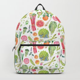 Spring Harvest Pattern White Backpack