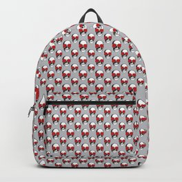 Skulls and Roses Pattern | Skulls and Flowers Pattern | Vintage Skulls | Grey and Red | Backpack