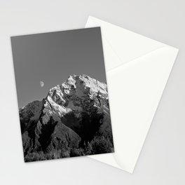 Moon Over Pioneer Peak B&W Stationery Cards