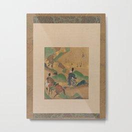 Mount Utsu  Utsu no yama  from The Tales of Ise (Ise monogatari),ca. 1634 Metal Print