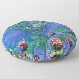 Claude Monet Red Water Lilies Floor Pillow