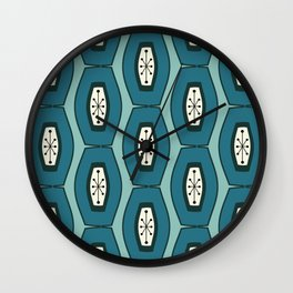Midcentury Funky Chain Pattern Turquoise Teal Wall Clock