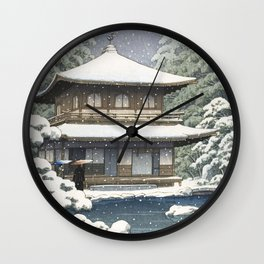 Hasui Kawase, Ginkakuji Temple In Snow - Vintage Japanese Woodblock Print Art Wall Clock