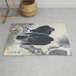 Kawanabe Kyosai - Two Crows On A Pine Branch - Digital Remastered Edition Rug