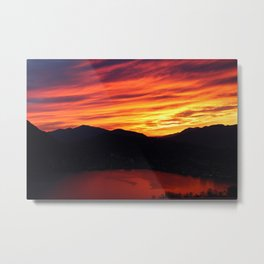 Sunset behind the mountains Metal Print