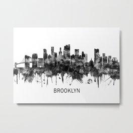 Brooklyn New York Skyline BW Metal Print