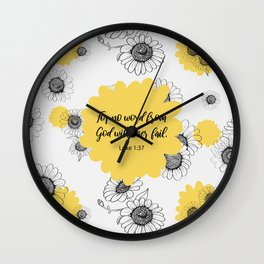 For no word from God will ever fail, Luke 1:37, Bible Verse Wall Clock