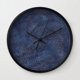 Vintage Circle of Life Mandala full color on blue swirl Distressed Wall Clock