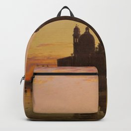 Venice Sunset at Santa Maria della Salute by Edwin William Cooke Backpack